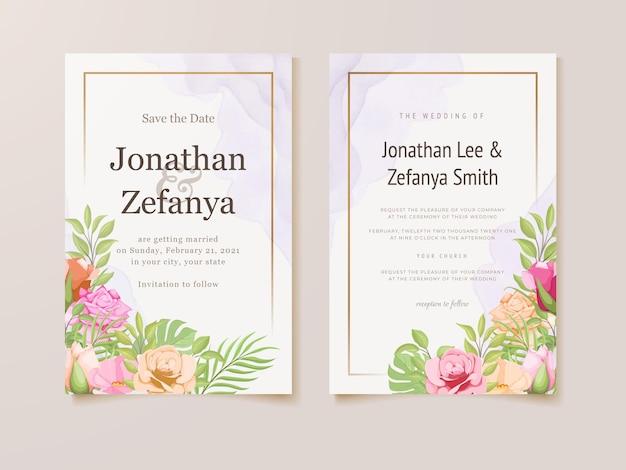 Beautifull floral wedding invitation card template