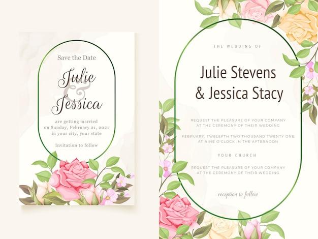 Beautifull 꽃 결혼식 초대 카드 템플릿