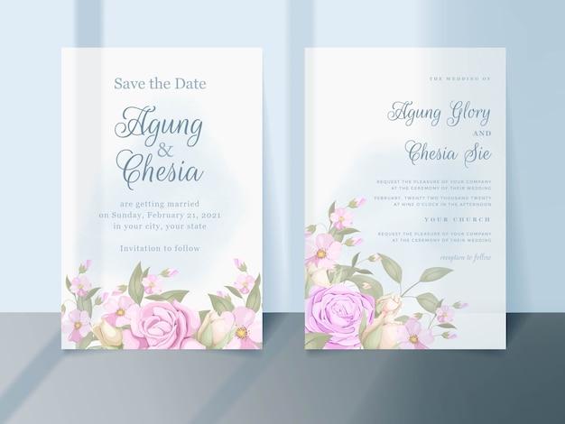Красивый цветочный дизайн шаблона свадебного приглашения