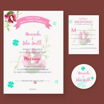 Beautifull floral weedding invitation card