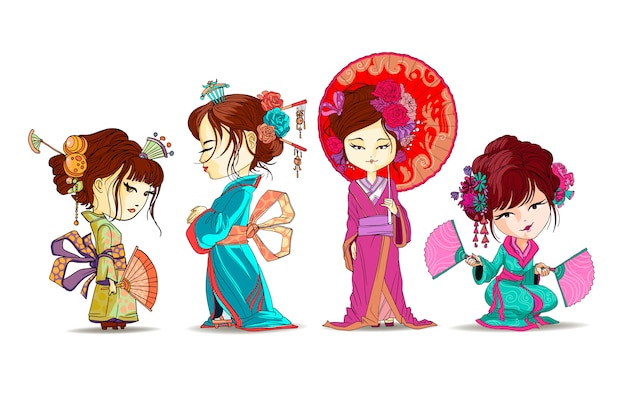 Beautifull japanese girls set stand and sit in kimono. young geisha with umbrella, japanese fans, old traditional kimono makeup maiko hair style shy japanese  illustration isolated
