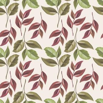 テキスタイルとファッションのための美しい葉のシームレスなパターンデザイン