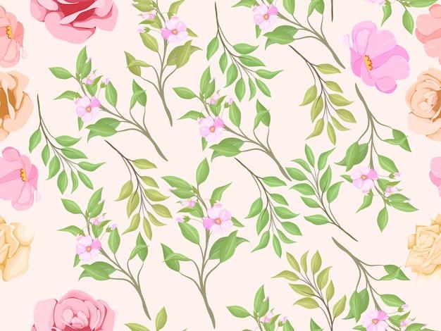 美しいシームレスパターン夏の花