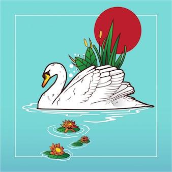 Beautifull swan in lake illustration