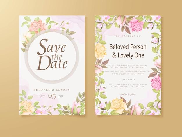 Beautifull 결혼식 초대 카드 꽃 컨셉 템플릿 디자인
