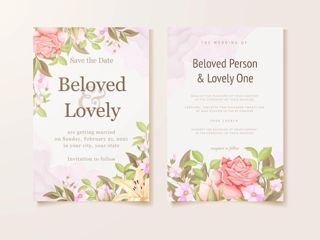 Beautifull 결혼식 초대 카드 꽃 컨셉 템플릿