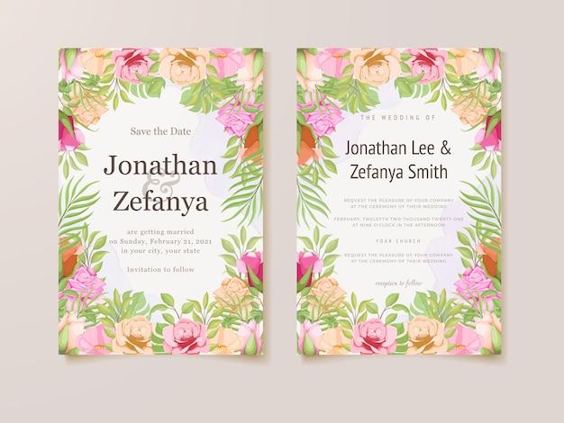 Beautifull wedding invitation card floral template design