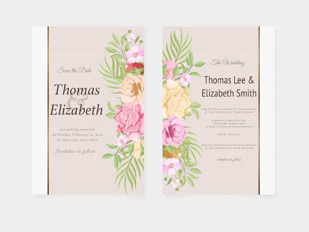 Beautifull wedding invitation card summer design