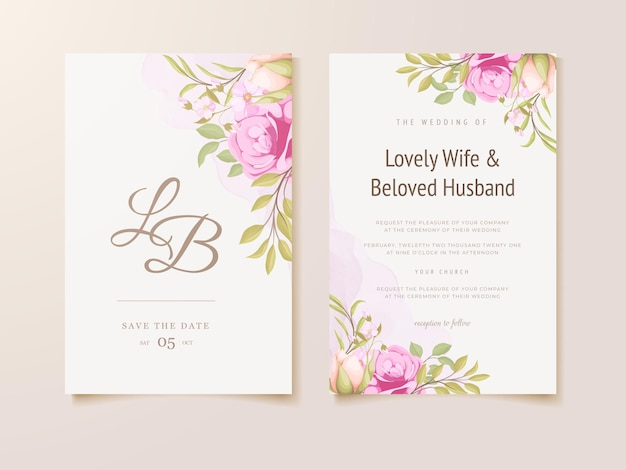 美しい結婚式の招待状の花のコンセプトテンプレートデザイン