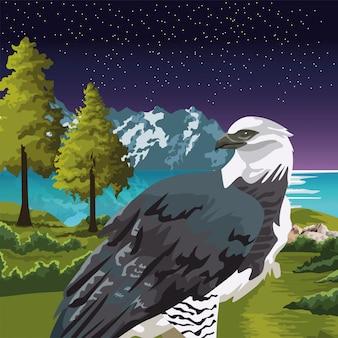 Красивый дикий орел на иллюстрации пейзажной сцены