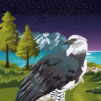 Beautifull wild eagle in the landscape scene illustration