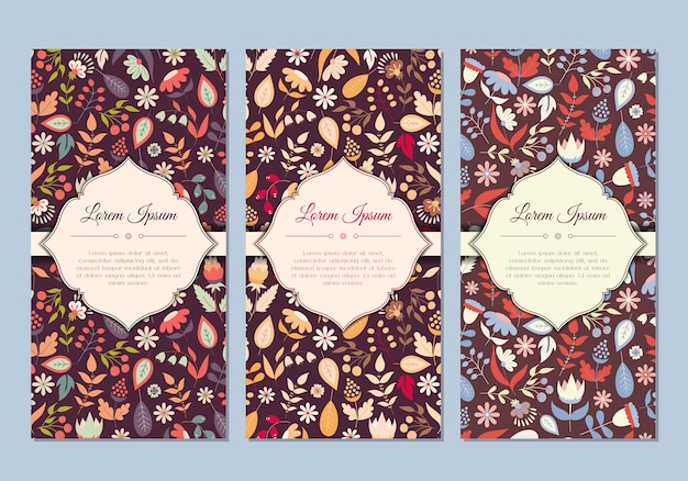 Beautifyl vintage retro doodle floral cards set for save the date invitation, greeting, holiday