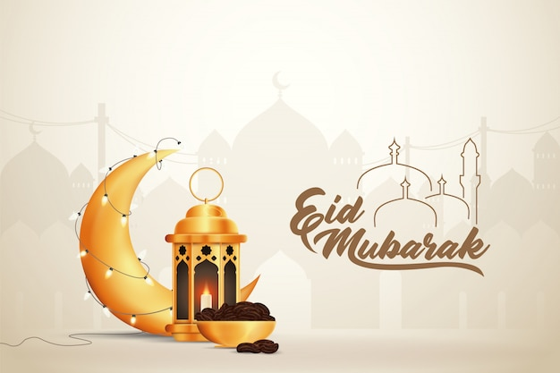 Beautilful eid-al-fitr eid-al-adha eid mubarak greetings illustration background