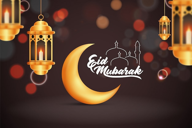 Beautilful eid-al-fitr eid-al-adha eid mubarak greetings illustration background