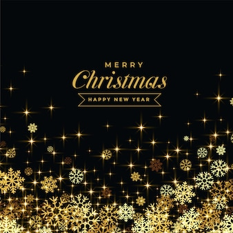 Beautoful black background with golden snowflakes