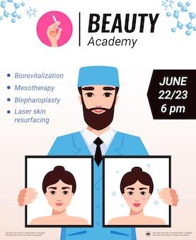 Manifesto di annuncio del seminario di ringiovanimento del viso dell'accademia di bellezza con cosmetologo che presenta pubblicità sui risultati del trattamento di cura della pelle