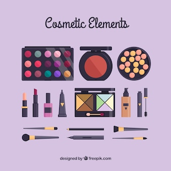 Beauty accessories in flat design and pastel colors