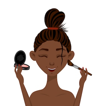 Beauty african woman applies makeup to the face. cartoon style.