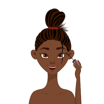 美容アフリカの女性はマスカラを適用します。漫画のスタイル。ベクトルイラスト。