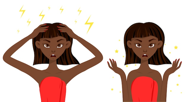 Beauty african woman dissatisfied with her skin. cartoon style.