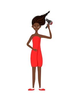 미인 아프리카 여성은 헤어드라이어로 머리를 말립니다. 만화 스타일입니다. 벡터 일러스트 레이 션.