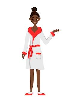 Африканская женщина красоты в халате, указывая на сторону с его рукой. мультяшный стиль. векторная иллюстрация.