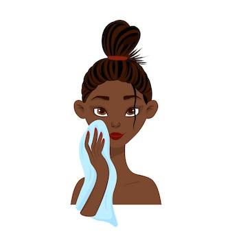 아름다움 아프리카 여자는 수건으로 그의 얼굴을 문지릅니다. 만화 스타일입니다. 벡터 일러스트 레이 션.