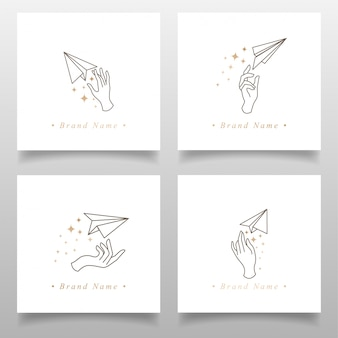 Beauty airplane hand logo origami paper editable template simple design