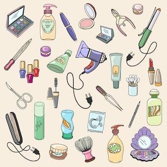 ケアとファッションメイクのための美容と化粧品の手描きアイテム。手描きの美しさと化粧品のベクトルアイコン