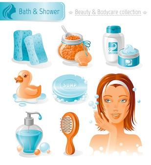 아름다움과 화장품 세트. 거품과 함께 아름 다운 여자와 목욕 및 샤워 컬렉션입니다.