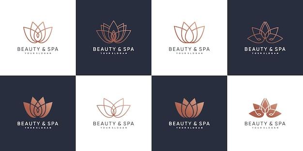 Набор логотипов красоты и спа с концепцией лотоса красоты premium векторы