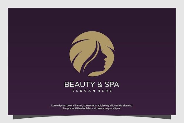 美容とスパのロゴの概念プレミアムベクトル