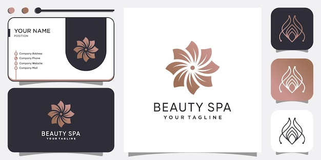 Концепция логотипа красоты и спа с креативным стилем premium векторы