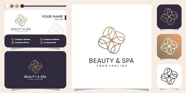 Концепция логотипа красоты и спа с золотой линией premium векторы