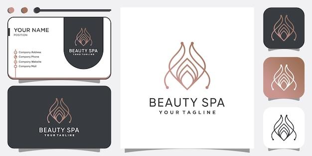 Дизайн логотипа красоты и спа с концепцией линии premium векторы