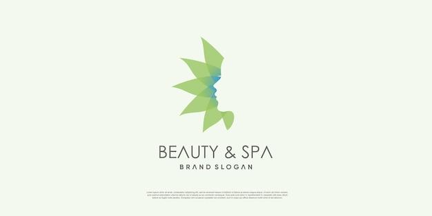 ユニークなコンセプトのプレミアムベクトルを持つ女性のための美容とスパのロゴ