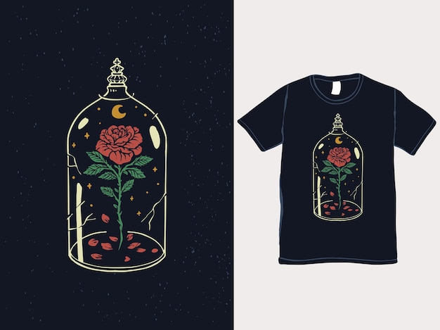 Beauty and the beast rose vintage tshirt design