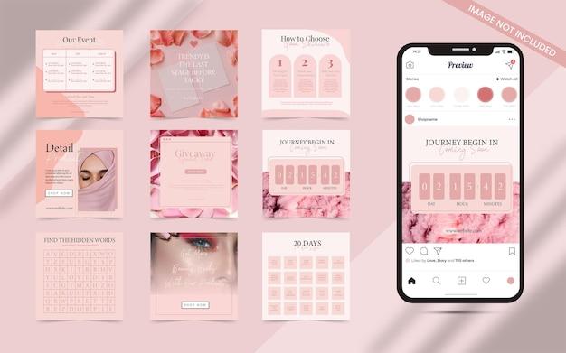 소셜 미디어 포스트 스토리 배너 템플릿을 위한 뷰티 블로거 고문 및 화장품 관리 개념