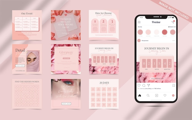 Beauty blogger advisor and cosmetics care concept for social media post stories banner template