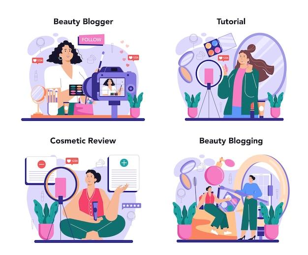 美容ブロガーのコンセプトセット。ソーシャルネットワークのインターネット有名人。人気の女性