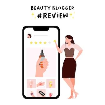 美容ブロガーのコンセプトです。女性は5つ星のスキムケアを与え、美容製品評価レビューイラストを構成します。