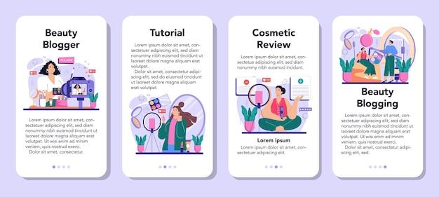 美容ブロガーモバイルアプリケーションバナーセット。インターネットの有名人