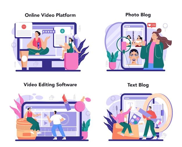 美容ブロガーのオンラインサービスまたはプラットフォームセット。ビデオブロガーがやっている