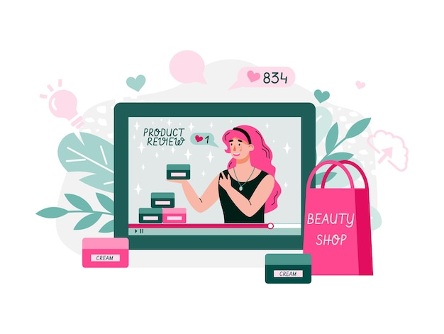 Beauty blogger streaming. woman reviewing cosmetics content for personal blog, website, talking about hair, makeup, skincare, fashion, posting marketing videos.  flat style cartoon illustration