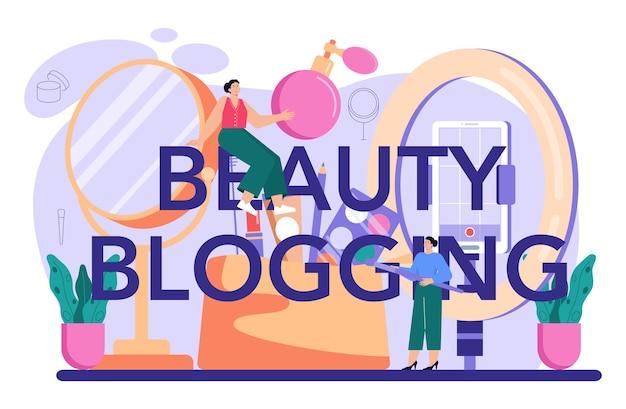 Beauty blogging typographic header. internet celebrity in social network.