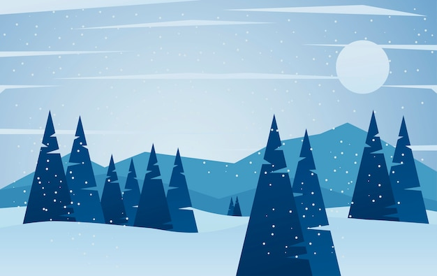 Красота синий зимний пейзаж сцена иллюстрации