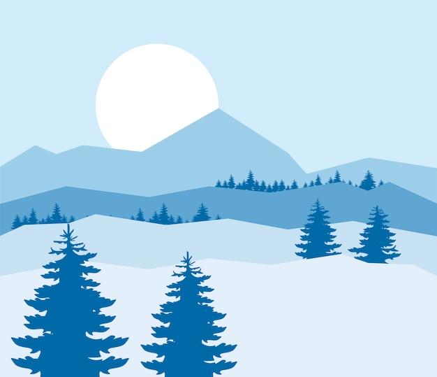 Красивый синий зимний пейзаж с иллюстрацией лесной сцены