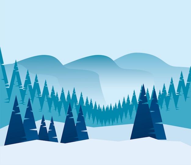 美しさ青い冬のパノラマ風景シーンイラスト