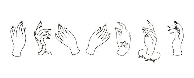 손으로 아름다움 Boho 컬렉션입니다. 프리미엄 벡터