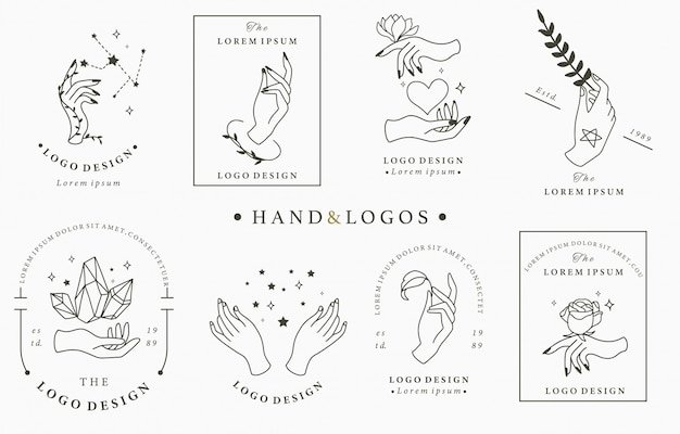 Beauty boho logo collection with hand, rose, crystal, heart, star.